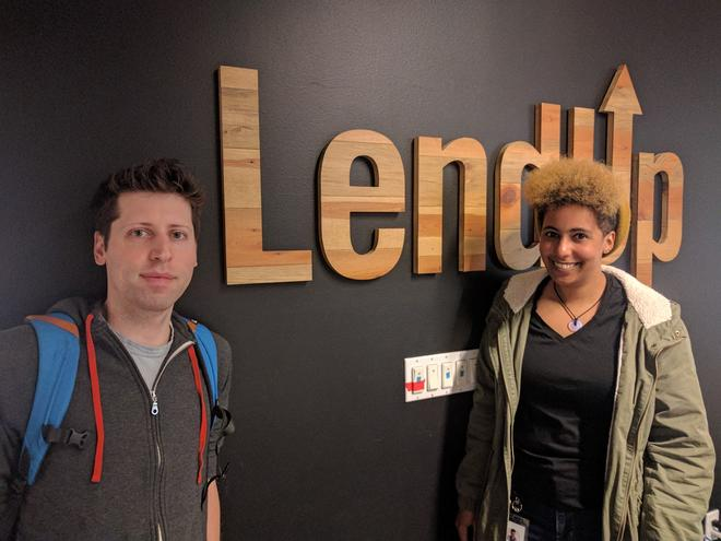 Sam Altman of Y Combinator and Hallie Lomax in the LendUp lobby